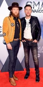 NASHVILLE, TN - NOVEMBER 04: John Osborne and T.J. Osborne of Brothers Osborne attend the 49th annual CMA Awards at the Bridgestone Arena on November 4, 2015 in Nashville, Tennessee. (Photo by Michael Loccisano/Getty Images)