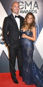 04 November 2015 - Nashville, Tennessee - Jana Kramer, Mike Caussin. 49th CMA Awards, Country Music's Biggest Night, held at Bridgestone Arena. Photo Credit: Laura Farr/AdMedia *** Please Use Credit from Credit Field ***