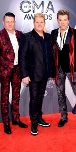 NASHVILLE, TN - NOVEMBER 04: (L-R) Jay DeMarcus, Gary LeVox, and Joe Don Rooney of Rascal Flatts attend the 49th annual CMA Awards at the Bridgestone Arena on November 4, 2015 in Nashville, Tennessee. (Photo by Michael Loccisano/Getty Images)