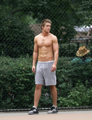A shirtless Robert Buckley plays basketball on location for 'Lipstick  Jungle' in New York