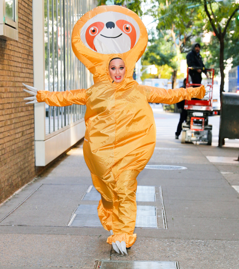 Katy Perry dresses up as a sloth for Halloween at Kelly and Ryan show in New York